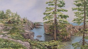 Painting of a moose encounter on the Stoll Trail.