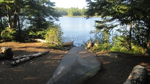 Tent on the shores of Chickenbone Lake