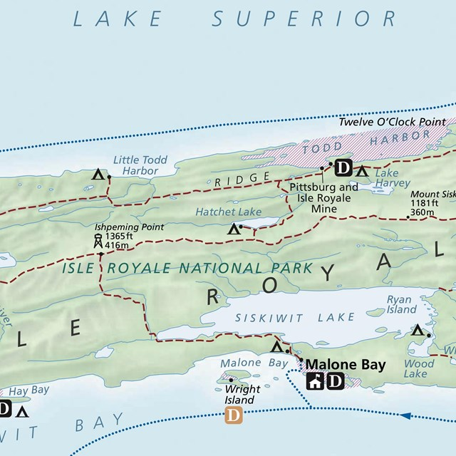 cropped image of the official Isle Royale National Park map