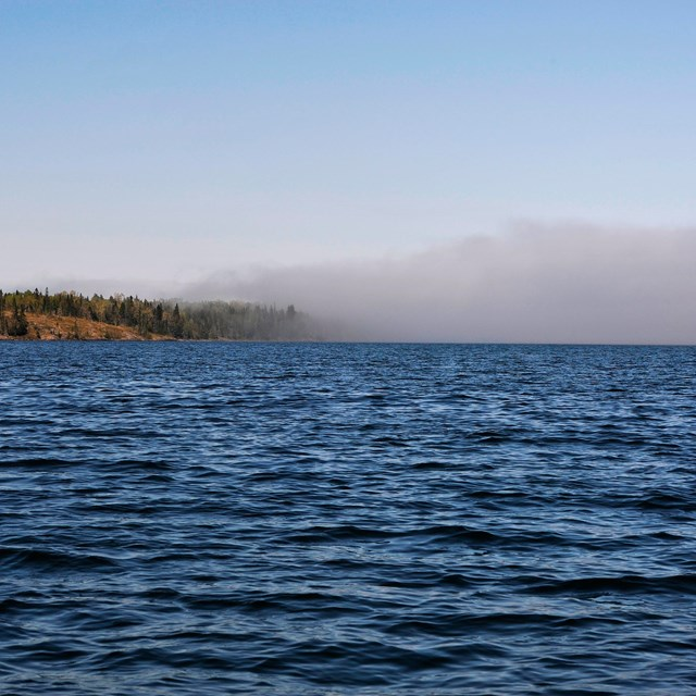 fog rolling onto the island off of Lake Superior