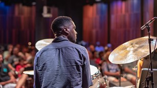 Peter Varnado on drums performing at New Orleans Jazz Museum