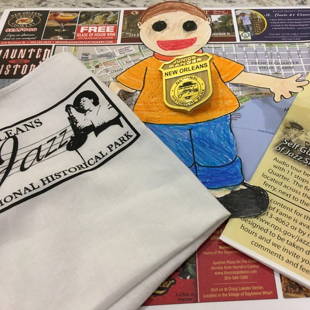 Handkerchief, Flat Stanley, and Junior Ranger Badge