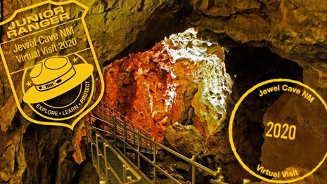 A long stair system descends into Jewel Cave along the Scenic Tour route.