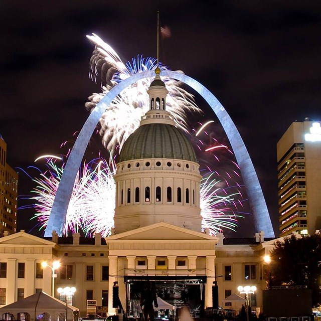 fireworks behind the Old Courthouse