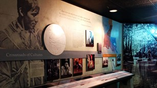 Exhibit with photos and title Crossroads of Culture