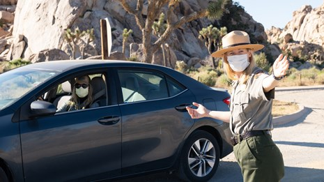 A ranger in a mask speaking with a masked person in a car.