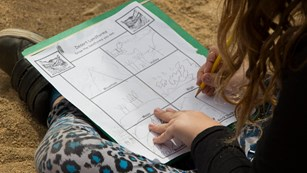 Color photo of a student completing a paper worksheet.