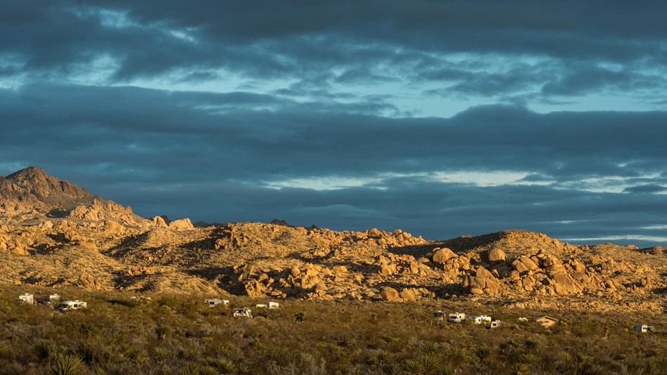 Color photo of evening light on Cottonwood Campground by NPS / Kurt Moses.