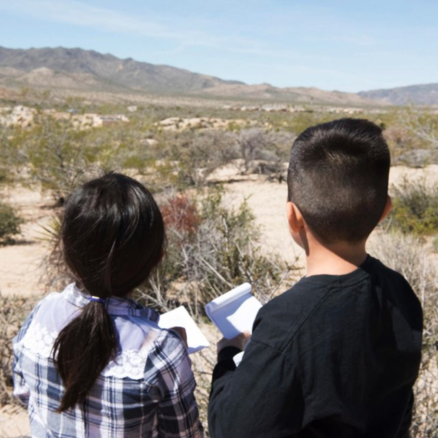 a girl and a boy looking across the desert toward distant mountains