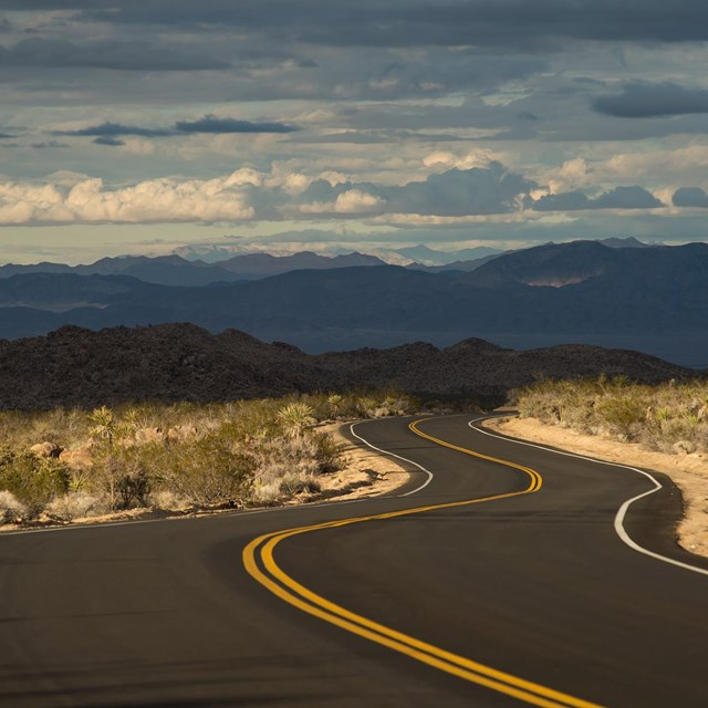 a road winds through the desert landscape