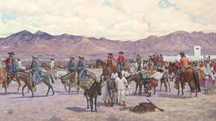 A painting depicting a desert landscape with Spanish soldiers and expedition members from 1775