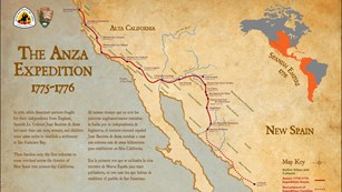 Image of a map of the Juan Buatista de Anza Expedition