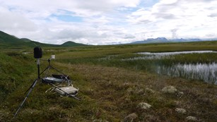 Equipment collects sound in a green field, with mountains in the background.