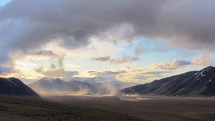 Ash storm at sunset in The Valley of Ten Thousand Smokes