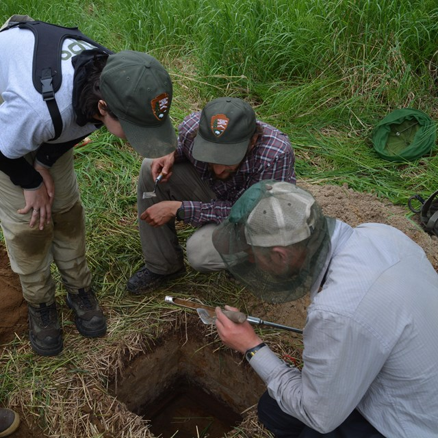 Three researchers examine a soil sample gathered from an excavated test pit.