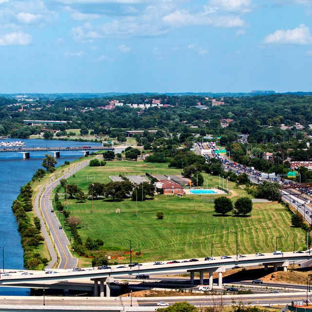 Aerial view of Anacostia Park