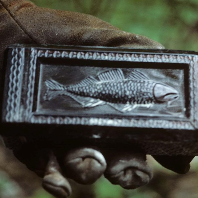 A hand holds a bottle with an embossed fish.