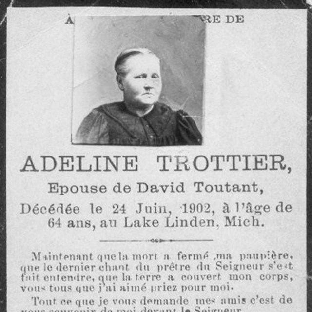 The death notice that was published for Adeline Trottier Toutant after her death.