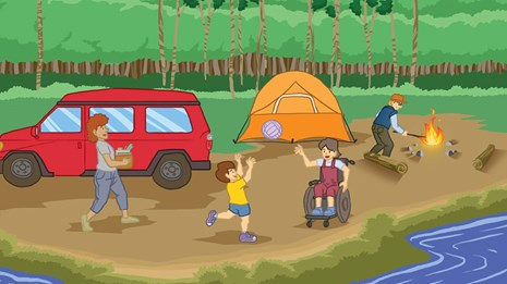 Illustration of a mom, dad, son, and daughter setting up a tent in camp by a lake.