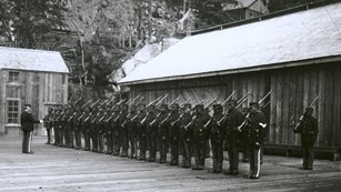 Lines of soldiers with guns on a wooden surface.