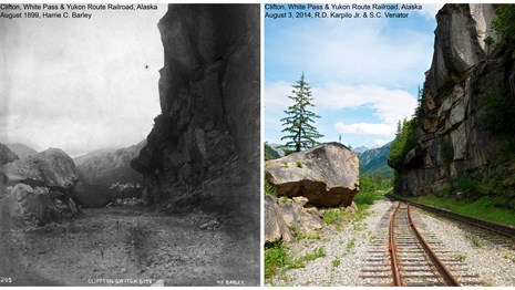 Composite image of historic and modern photos of the same scene