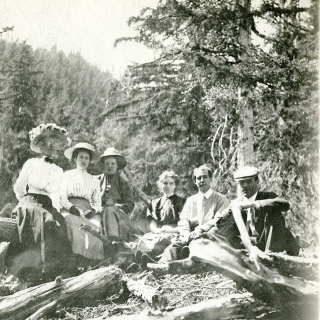 a group of people sitting outside on a trail