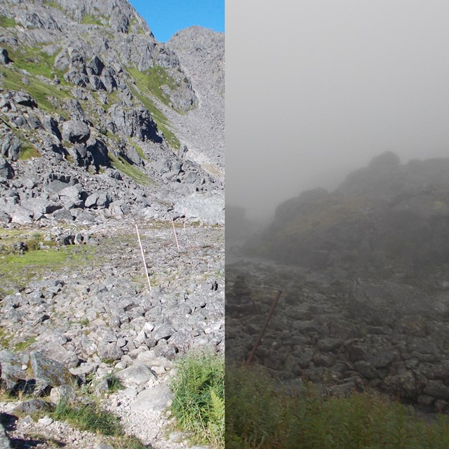 composite image showing sunny and foggy versions of the same scene