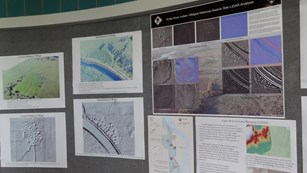 A wall of Knife River Indian Villages maps and LiDAR images.