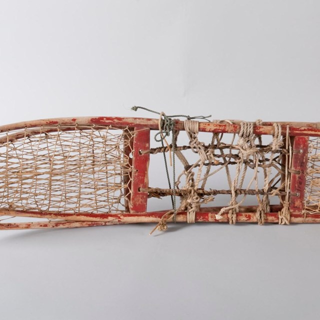 A pair of red snowshoes