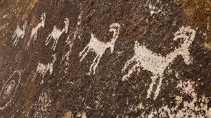 Close up of rock paintings on cliff wall