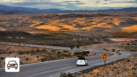 Car driving through Lake Mead National Recreation Area