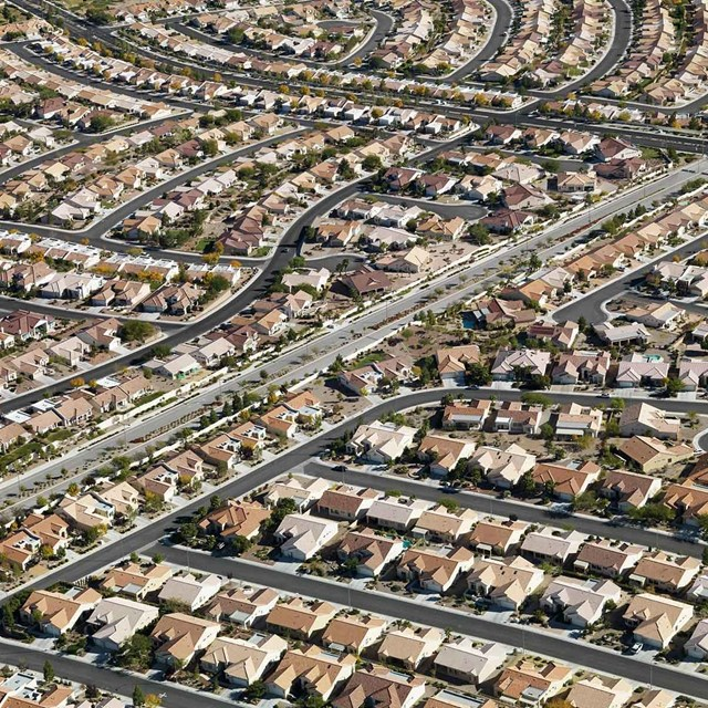 A Las Vegas redidential neighborhood that depends on the water stored in Lake Mead