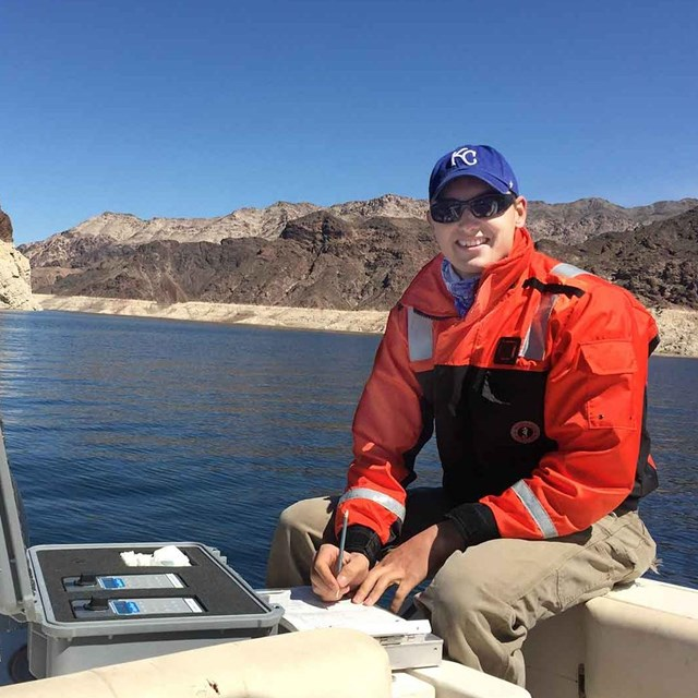 Researcher testing the water on Lake Mead