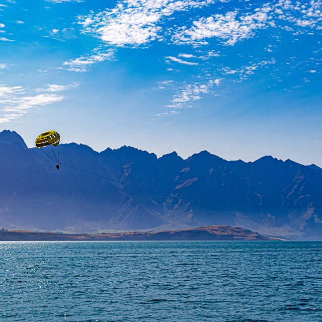 Parasailing over the lake.