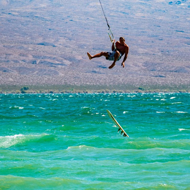 Kiteboarding over Lake Mead.