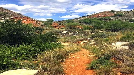 A hiking trail at Lake Meredith between mesas with green plants and blue skies with white clouds