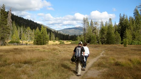 Photo of a man and a women hiking through yellow grass in a large meadow