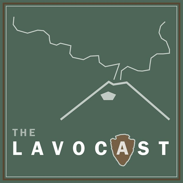 A green graphic with the word The LAVOCAST and a line drawing of a volcano with eruption cloud