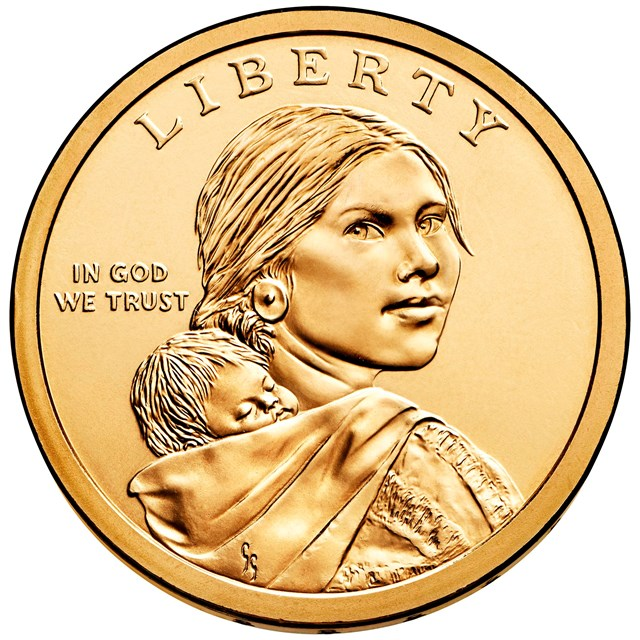 US Mint coin with Sacagawea profile.