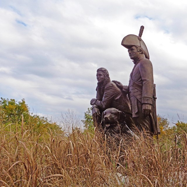 Statue of Lewis and Clark in the St. Charles Historic District