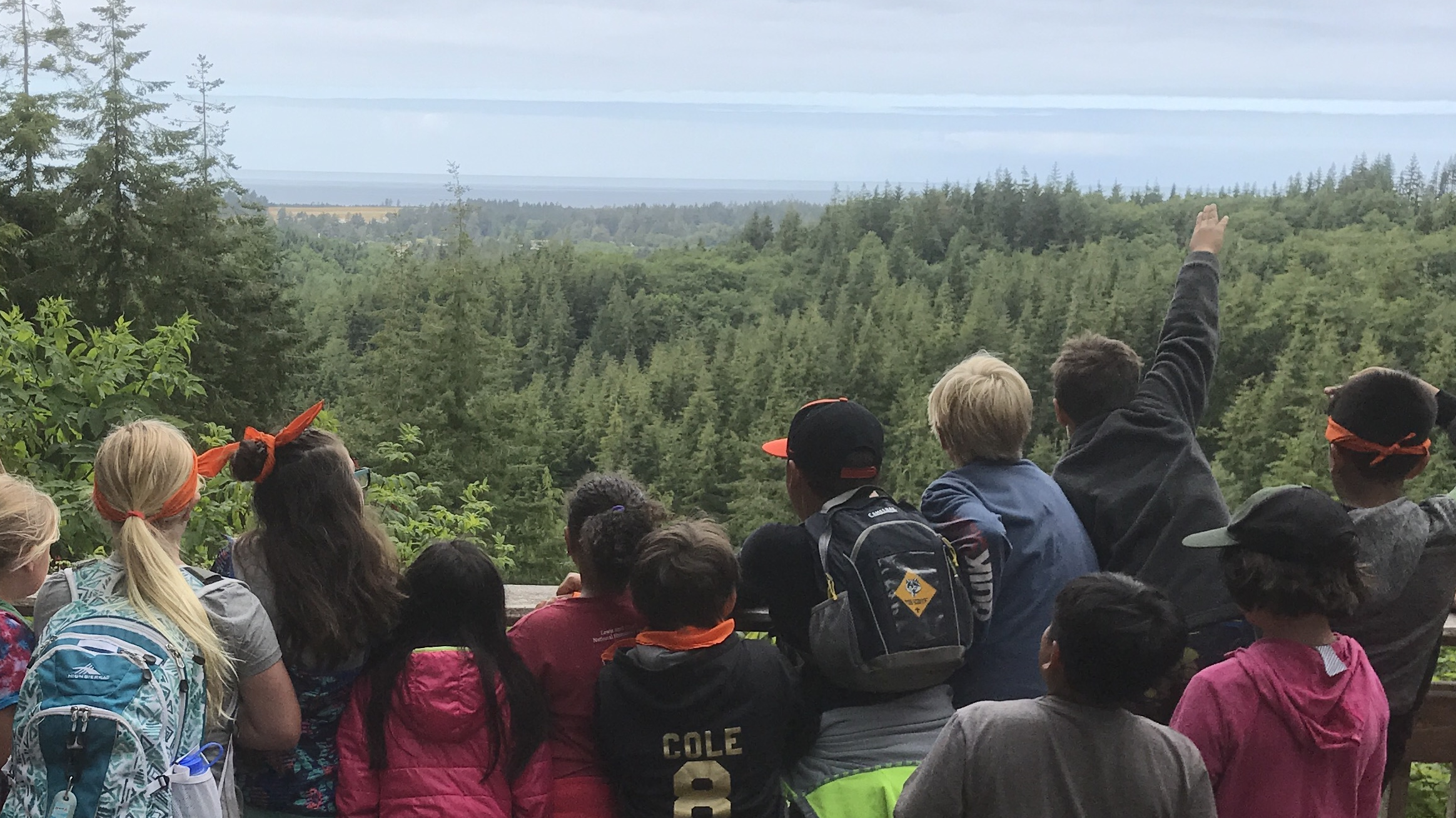 Nature Adventure Campers viewing the ocean from the overlook
