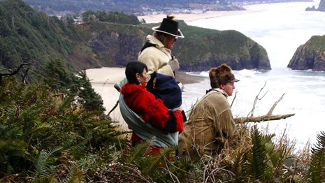 Actors portraying members of the Corps of Discovery at Tillamook Head