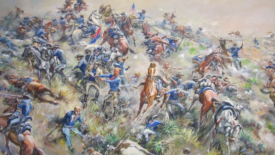 A painting depicting a chaotic battle scene with fighters on foot and horseback.