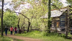 Family on trail in front of log cabin surrounded by trees