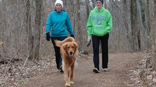 Visitors walking their dog on a park trail.