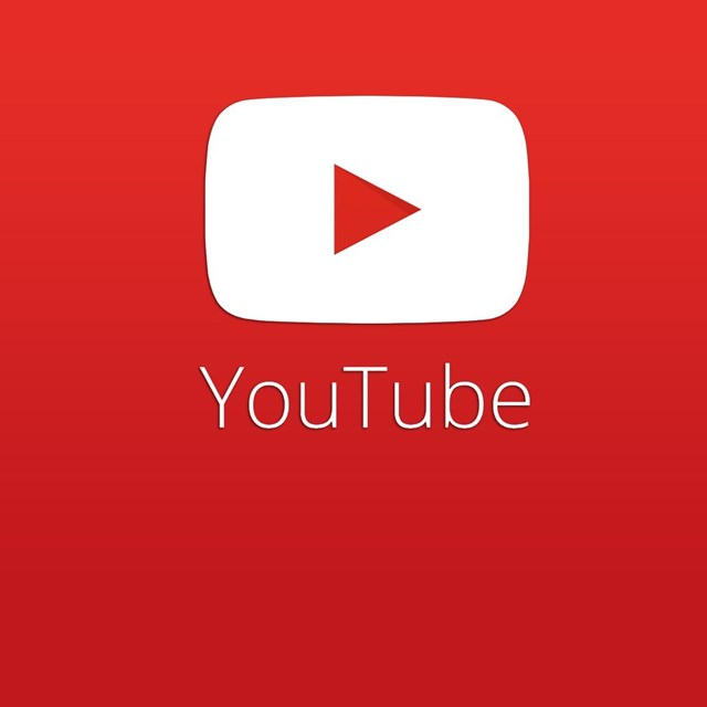 White YouTube symbol against a red background.