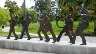 Sculpture of band playing jazz in Armstrong Park