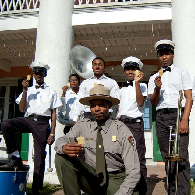 Brass band and a Park Ranger at Jazz National Park