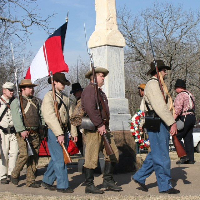 Living History procession at battle monuments at Pea Ridge