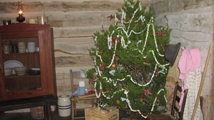 A Christmas tree decorates the 1860s log cabin of the President's grandparents.